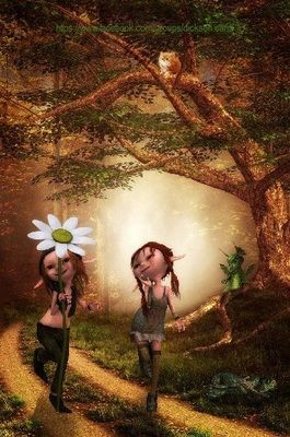 Two elves with a camomile