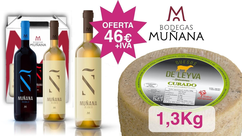 Oferta QUESO LEYVA + 2 botellas Blanco + 1 botella Roble