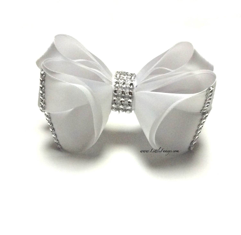 White Satin Hair Bow with Rhinestone - The Princess