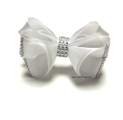 White Satin Hair Bow with Rhinestone - The Princess