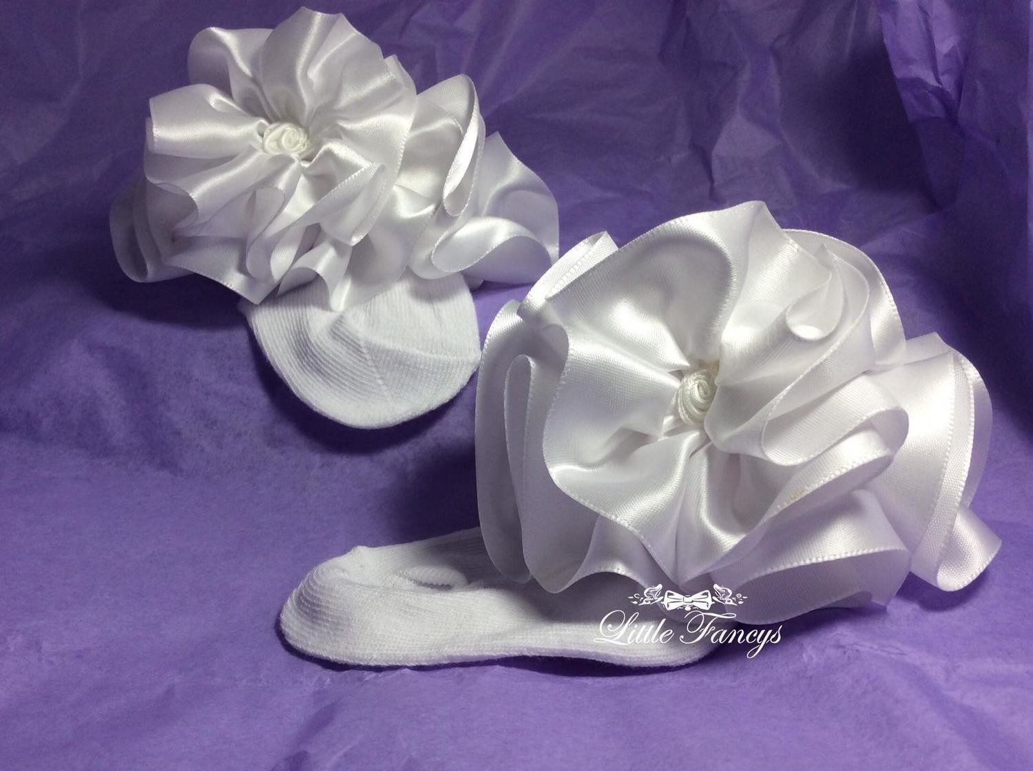 White Fancy Satin Ruffled Pageant Socks