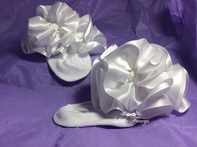 White Fancy Satin Ruffled Pageant Socks