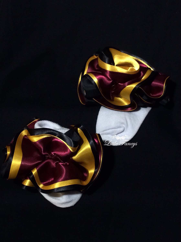 Black, Gold, and Maroon Little Girls Ruffle Socks
