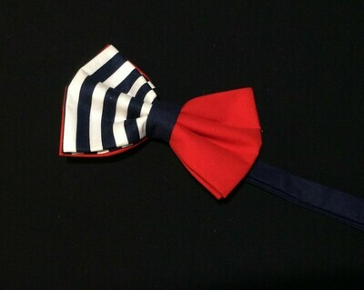 Red White & Navy Stripes Bow Tie