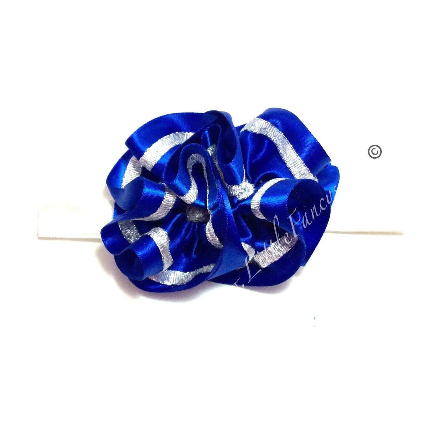 Royal Blue and Silver Head Band