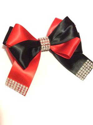 Red And Black Designer Bling Hair Bow