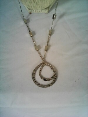 Silver Plate Necklace With 2 Pendent