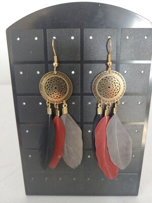 3 color feather  earring