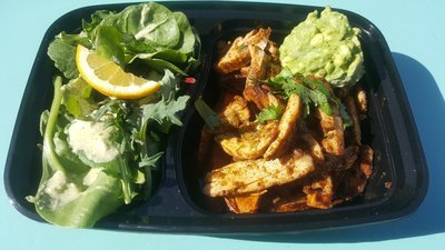 chile lime chicken with side spring mix salad