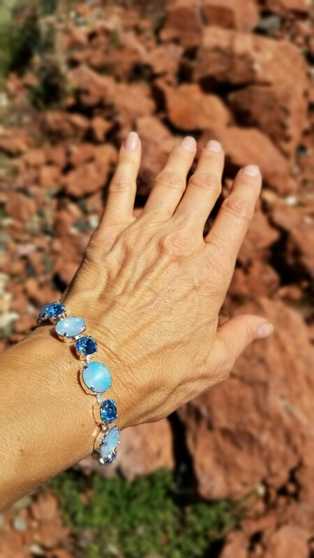 Gorgeous Pleiadian of Blue Peace Priestess/Devic Crystal LOVE Bracelet $144/$188 Retreat Sale
