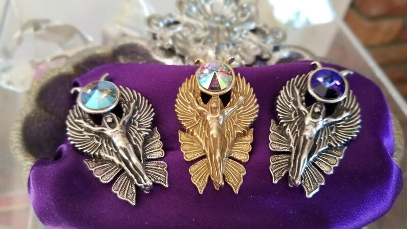 WA HE AH Sterling Silver/Goddess Fairy Angel Deva/Retreat Fairy sale Blue Violet  Crystal $233/$313
