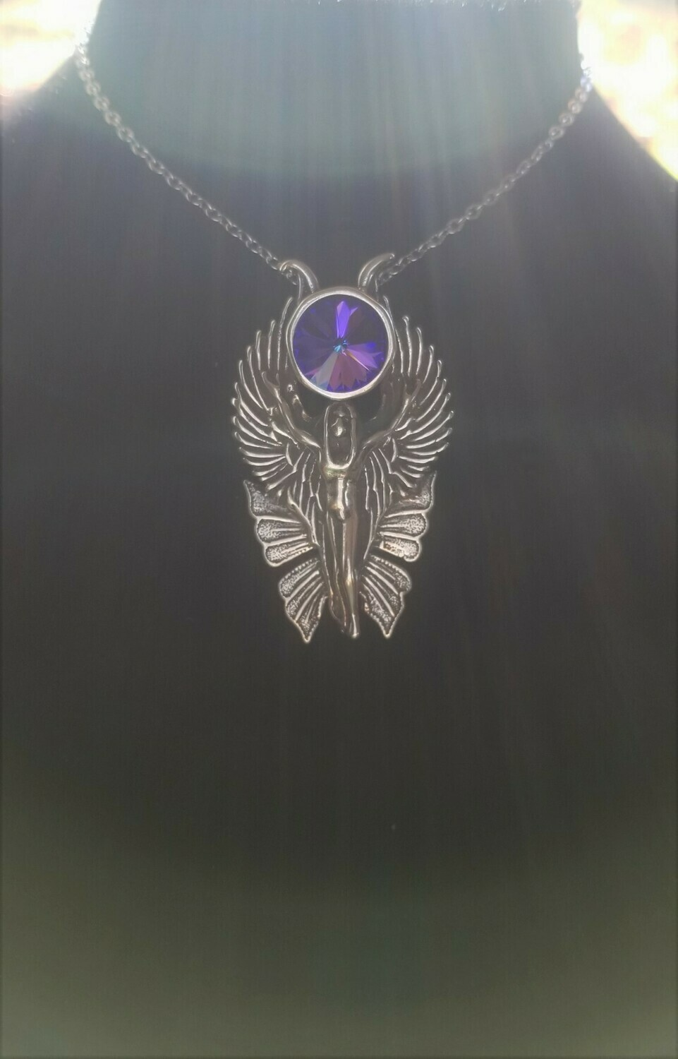WA HE AH Sterling Silver/Goddess Fairy Angel Deva/Retreat Fairy sale Blue Violet  Crystal $233/$313