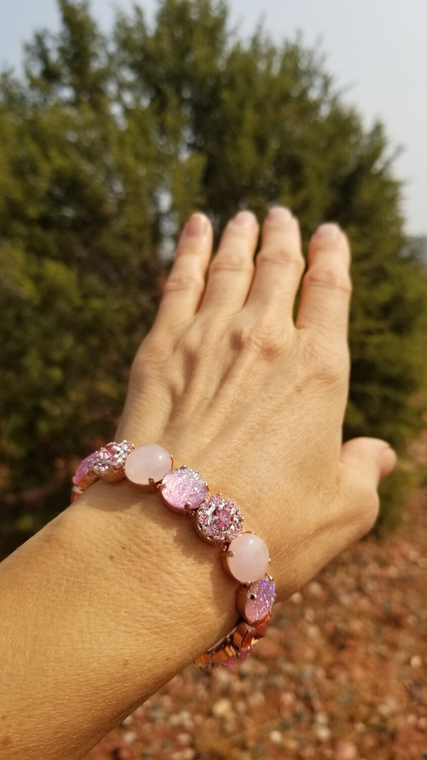 Rose Quartz Angels Sisters of the Sacred Rose Priestess/Devic Crystal LOVE Technology Bracelets $133.00/ $213.00 retreat sale