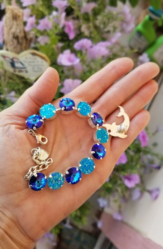 Enchanting Blue Ray Dolphin Pearl bracelet/ Sacred Waters of Peace Crystal LOVE Bracelet $133/$188 Retreat Sale