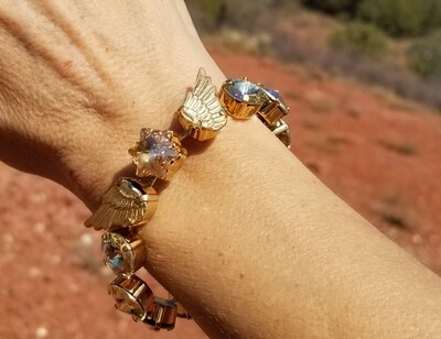 Stunning Gold Seraphim Star Wings of Heaven/Devic Crystal LOVE Bracelet/$288/$333 Angel Retreat Sale