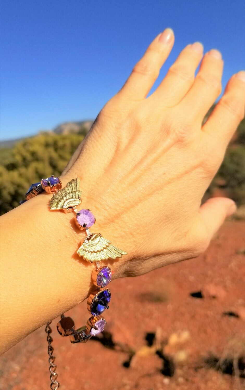 Beautiful Goddess Isis Gold Wings of Violet Light/Devic Crystal LOVE Technology Bracelet$188.00/244.00 Retreat Sale