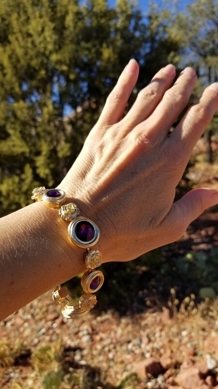 Gorgeous Violet Gold Rose Ray Soul Portal Bracelet/Devic Crystal LOVE Bracelet 188/255.00 Retreat Sale