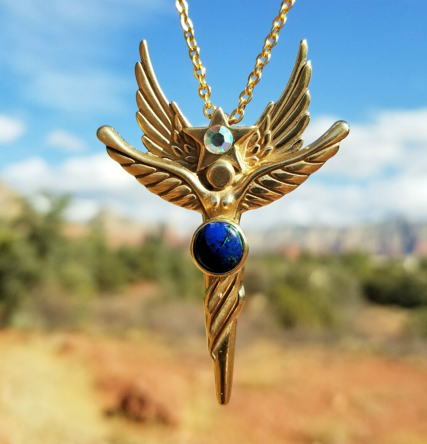 Beautiful Sedona World Peace Gold Star Angel/Angel sale $233.00/288.00