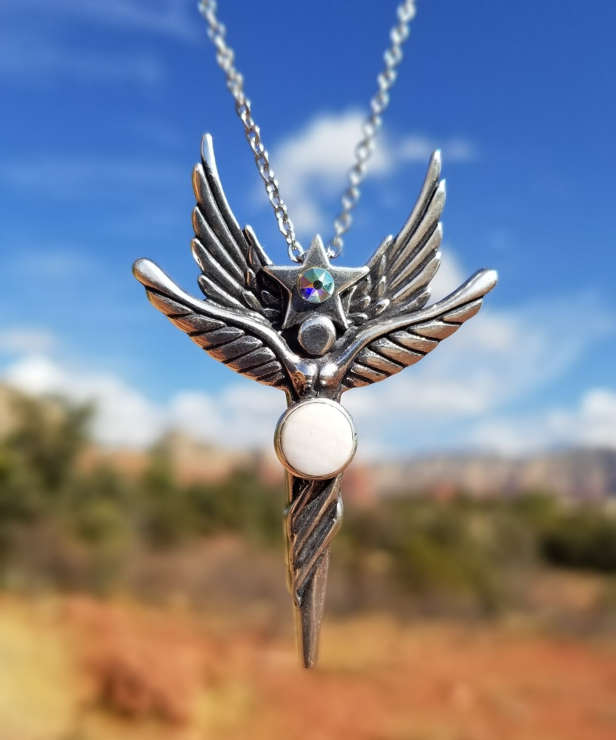 Beautiful Sedona Angel Star Silver/Rare White vortex crystal/$244.00 Retreat Angel sale/$233.00/288.00
