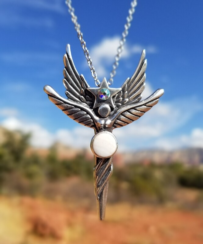 Beautiful Sedona Angel Star Silver/Rare White vortex crystal/$244.00 Retreat Angel sale/$244.00/288.00