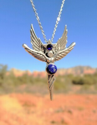 Beautiful Sedona Angel Star Sterling Silver/ Lapis Goddess gemstone/Angel Retreat Sale $233.00/288.00