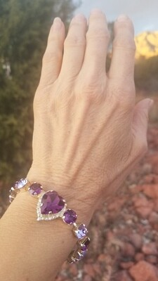 Gorgeous Violet Heart of the Rose Ray/Devic Crystal LOVE Bracelet $188/$288 Retreat Sale