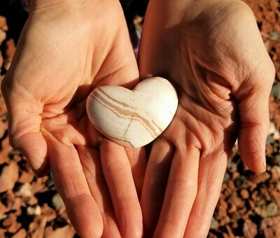 Sedona White Light Crystal Holding Sacred Heart/Red Rock Ley lines of Mother Earth's LOVE/Language of light, Grid Worker & Healer/ Christmas Sale $99/133.00