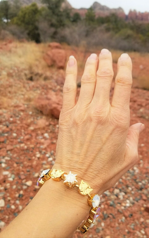 Stunning Gold Heavens Star 3 fold flame/Devic Crystal LOVE Bracelet/$244/$288 Angel Retreat Sale