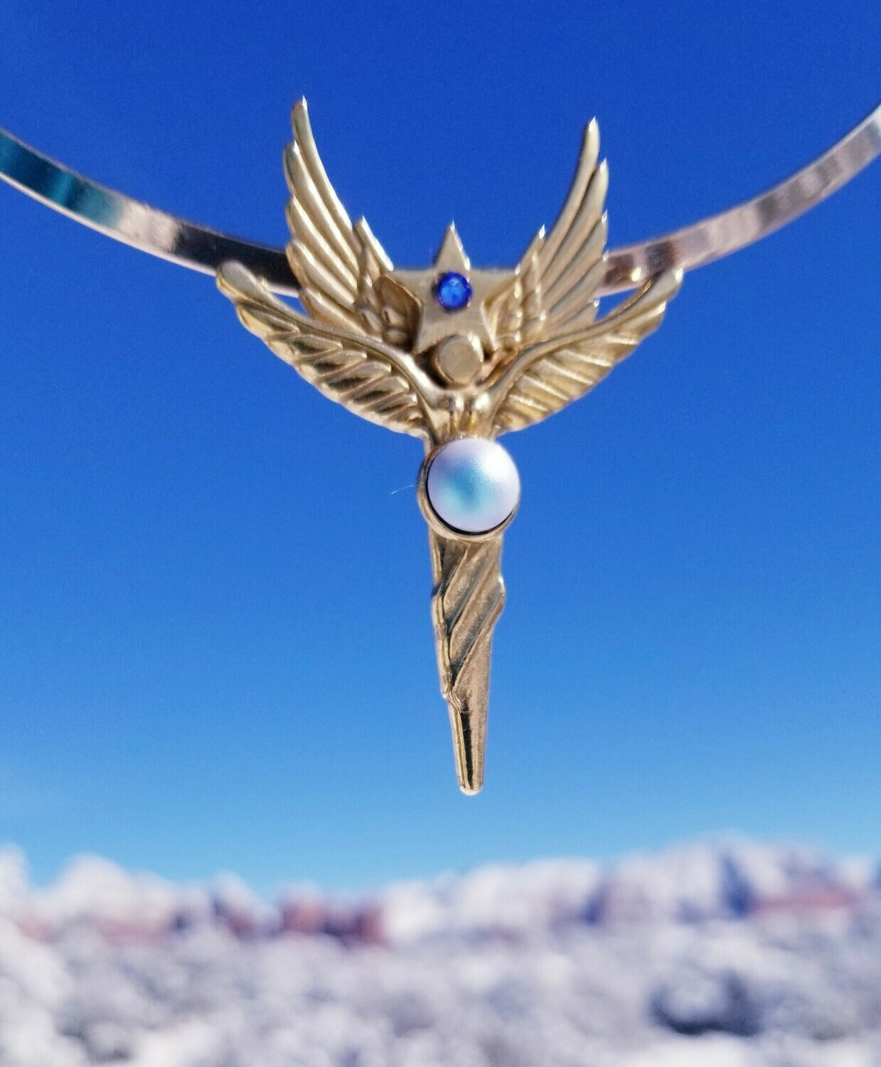 Enchanting World Peace Gold Sedona Star Angel Crystal iridescent  blue Retreat Angel sale$213/$244.00