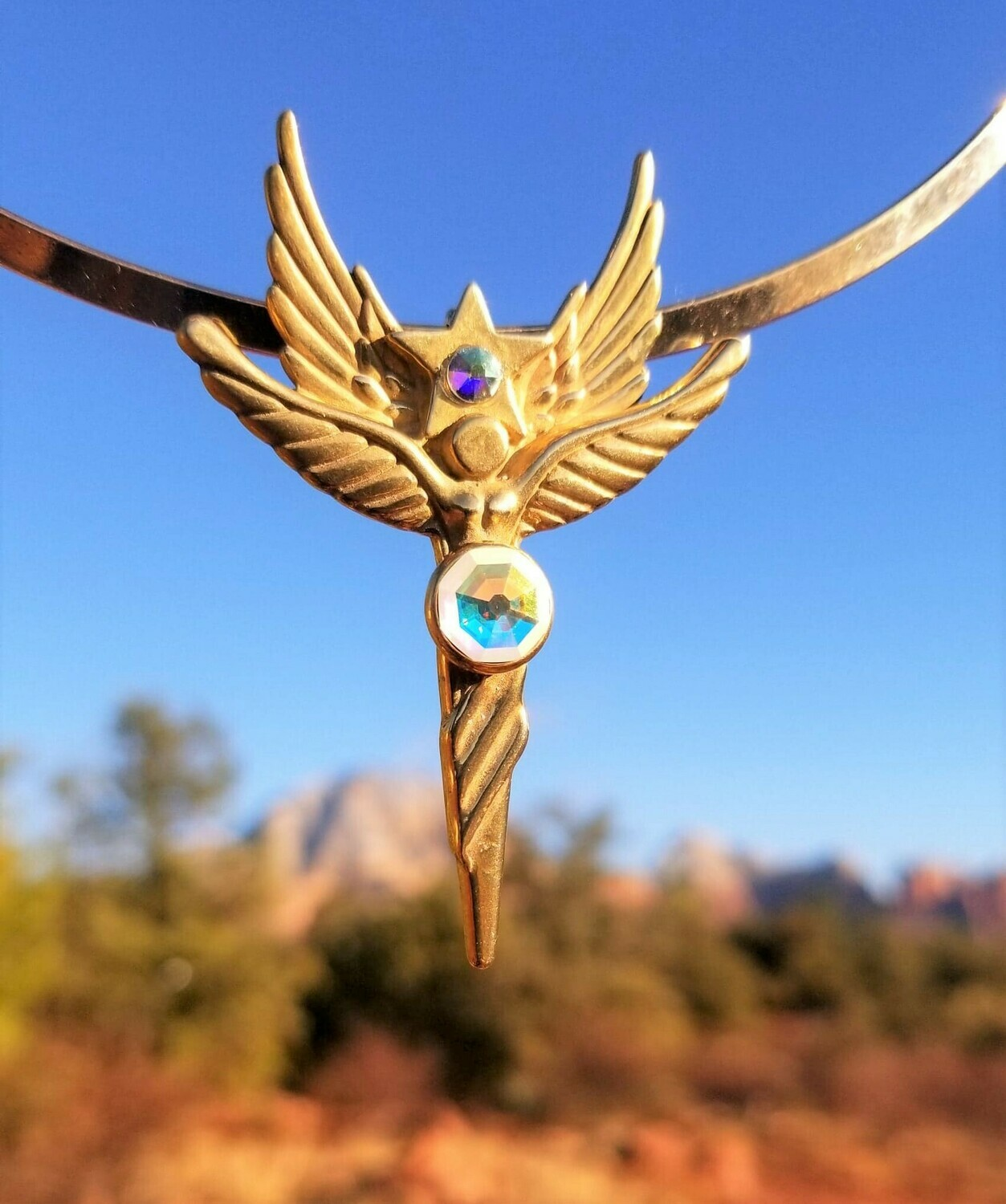 Beautiful Sedona World Peace Star Angel Gold Copper/Retreat Angel sale$213/$244.00