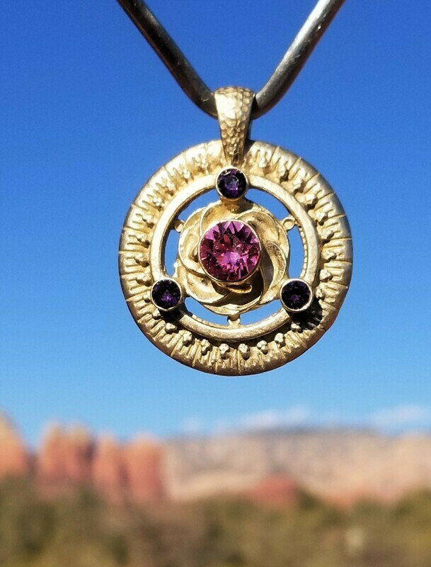 Gold Rose Violet/Universal Frequency Harmonizer Pendant
