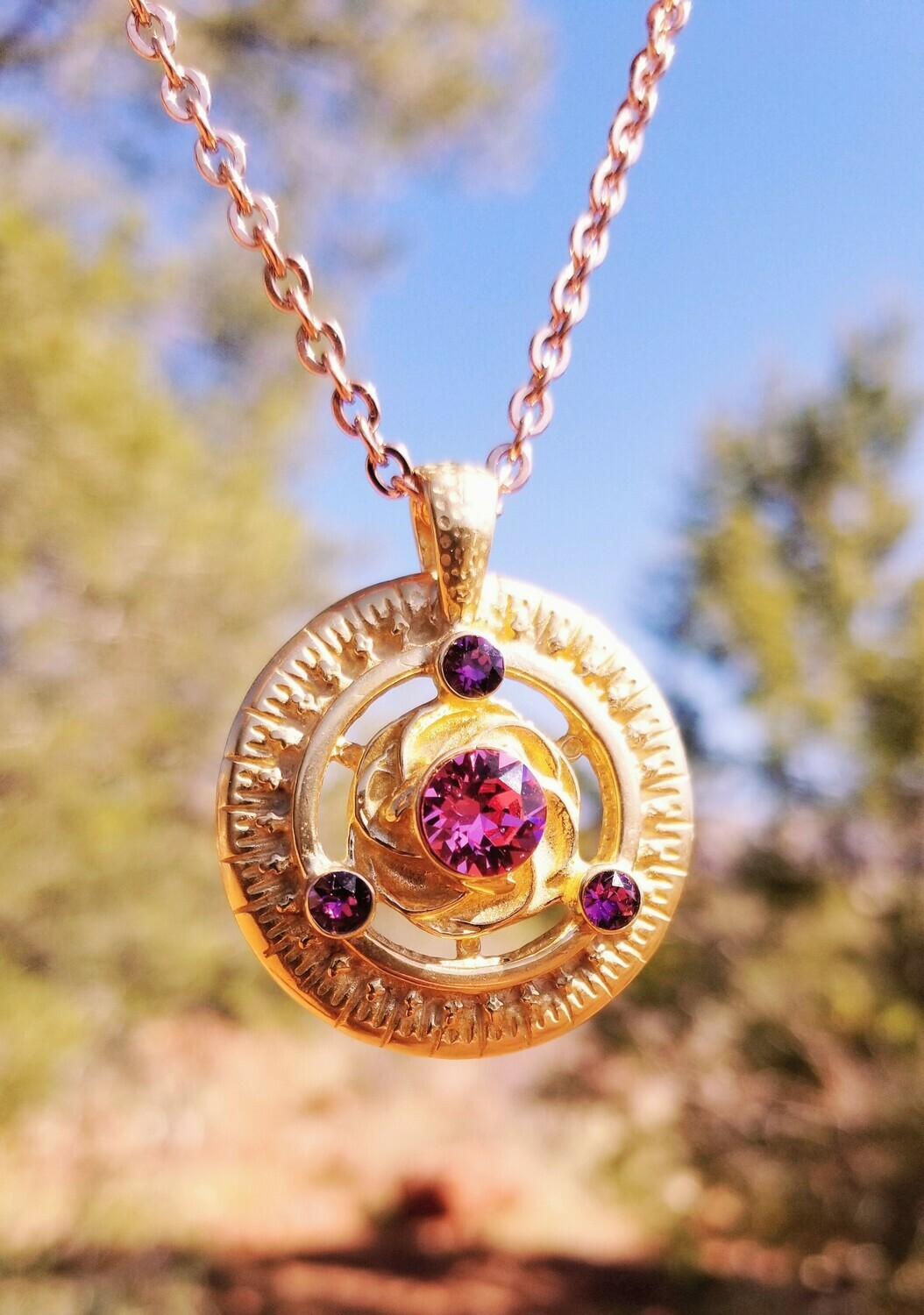 Gorgeous Gold Cosmic Rose Love Radiance/Universal Frequency Harmonizer Pendant