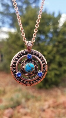 Copper  Turquoise Earth Pulse Grounder & Balancer/Universal Frequency Harmonizer Pendant Sale 288.00/$313