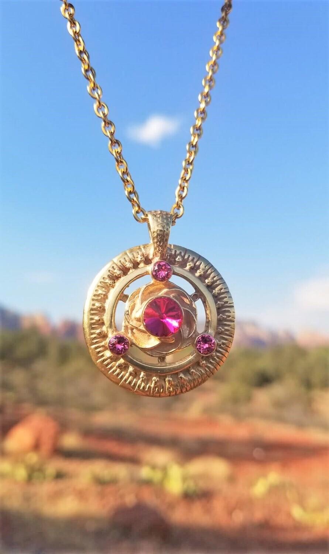 Gorgeous Gold Cosmic Rose Love Radiance/Universal Frequency Harmonizer Pendant $288