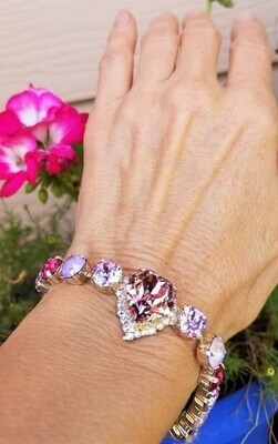 Gorgeous Pink Heart of the Rose Ray/Devic Crystal LOVE Bracelet $188/$288 Retreat Sale
