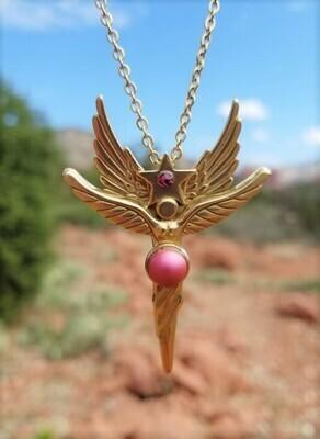 Enchanting LOVE World Peace Gold Sedona Star Angel Crystal iridescent Pink $244.00