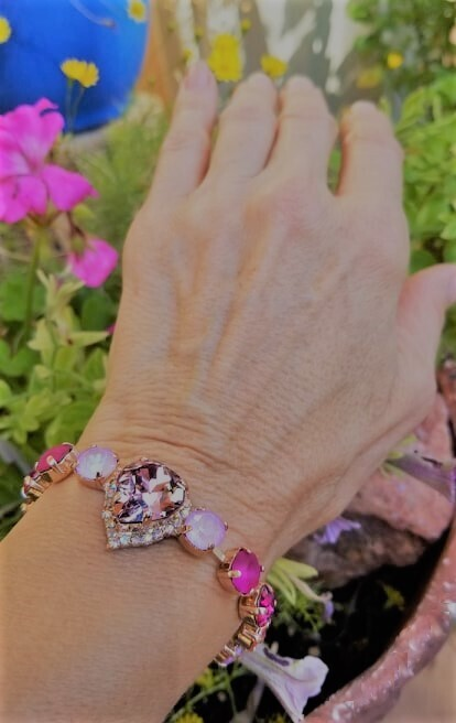 Rose Gold Gorgeous Pink Heart of the Rose Ray/Devic Crystal LOVE Bracelet $188/$288 Retreat Sale