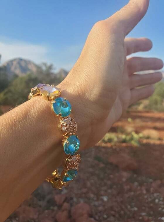 Gorgeous Aquamarine Mother Mary New Earth/Devic Crystal LOVE Technology Bracelet $155.00/188.00 Goddess sale