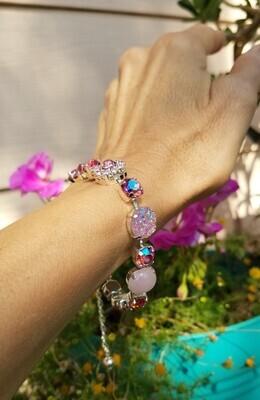 Gorgeous Rose Ray Love Healing Rose Quartz/Devic Crystal LOVE Bracelet $144/$188 Retreat Sale