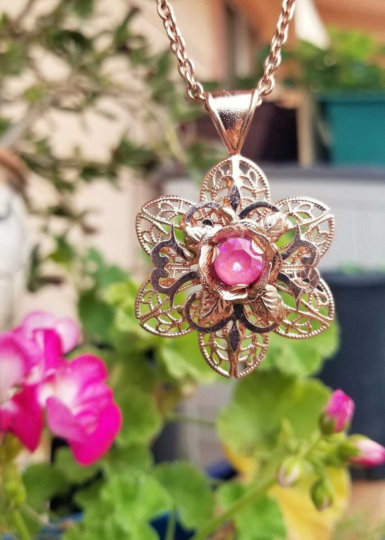 Magnificence Rose Gold Magdalene Rose Crest Venusian Star Pendant 244.00