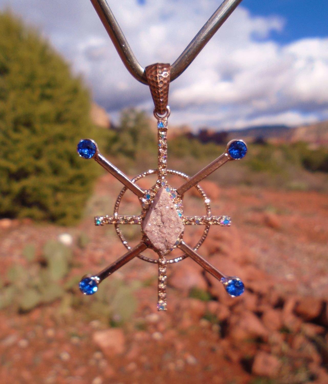 Blue Star Resonator Star Family Sedona druzy crystal Blue Sapphire