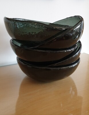 Black Fused Small Glass Bowl