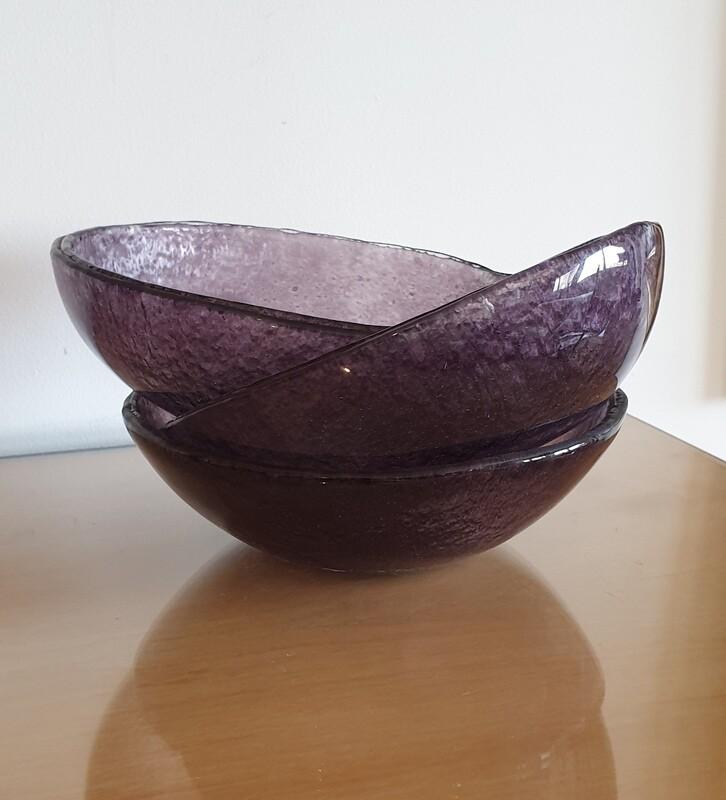 Dark Purple Large Fused Glass Bowl