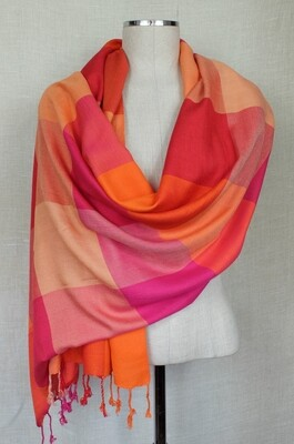 VC Fuchsia, Orange & Red Shawl