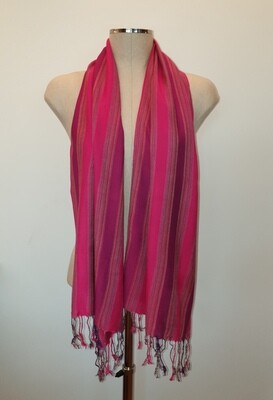 Fuchsia & Purple Wide Stripes Small Scarf