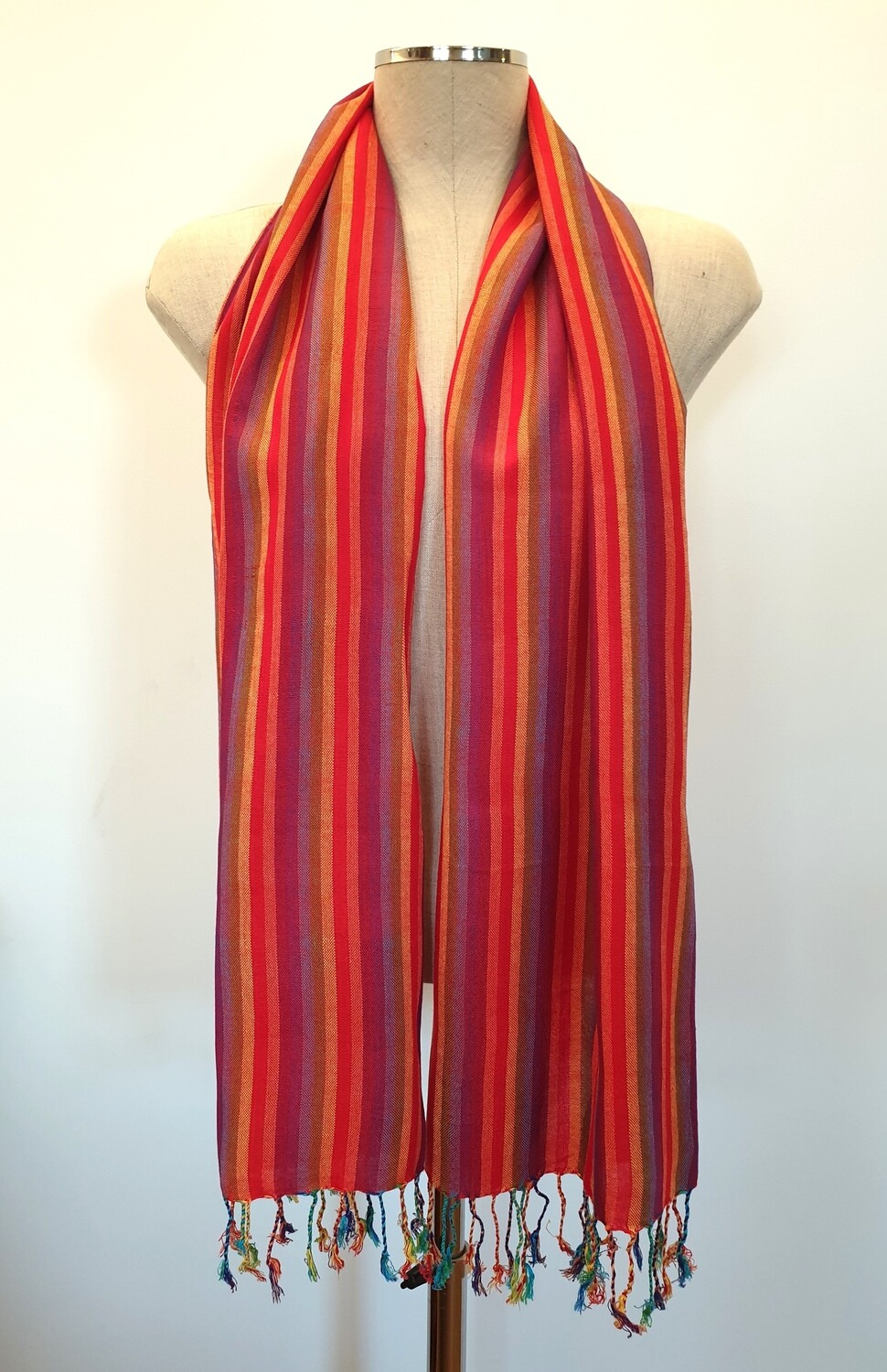 Red Rainbow Stripes Small Scarf