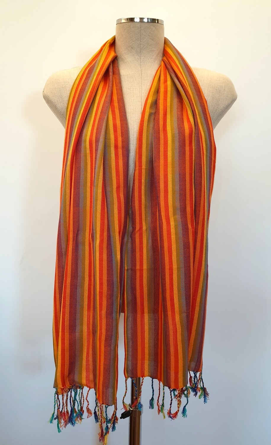 Orange Rainbow Stripes Small Scarf