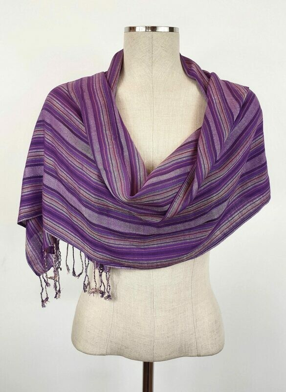 Purple Wide Stripes Small Scarf