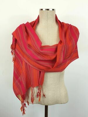 Fuchsia & Orange Stripes (Fuchsia Hue) Small Scarf