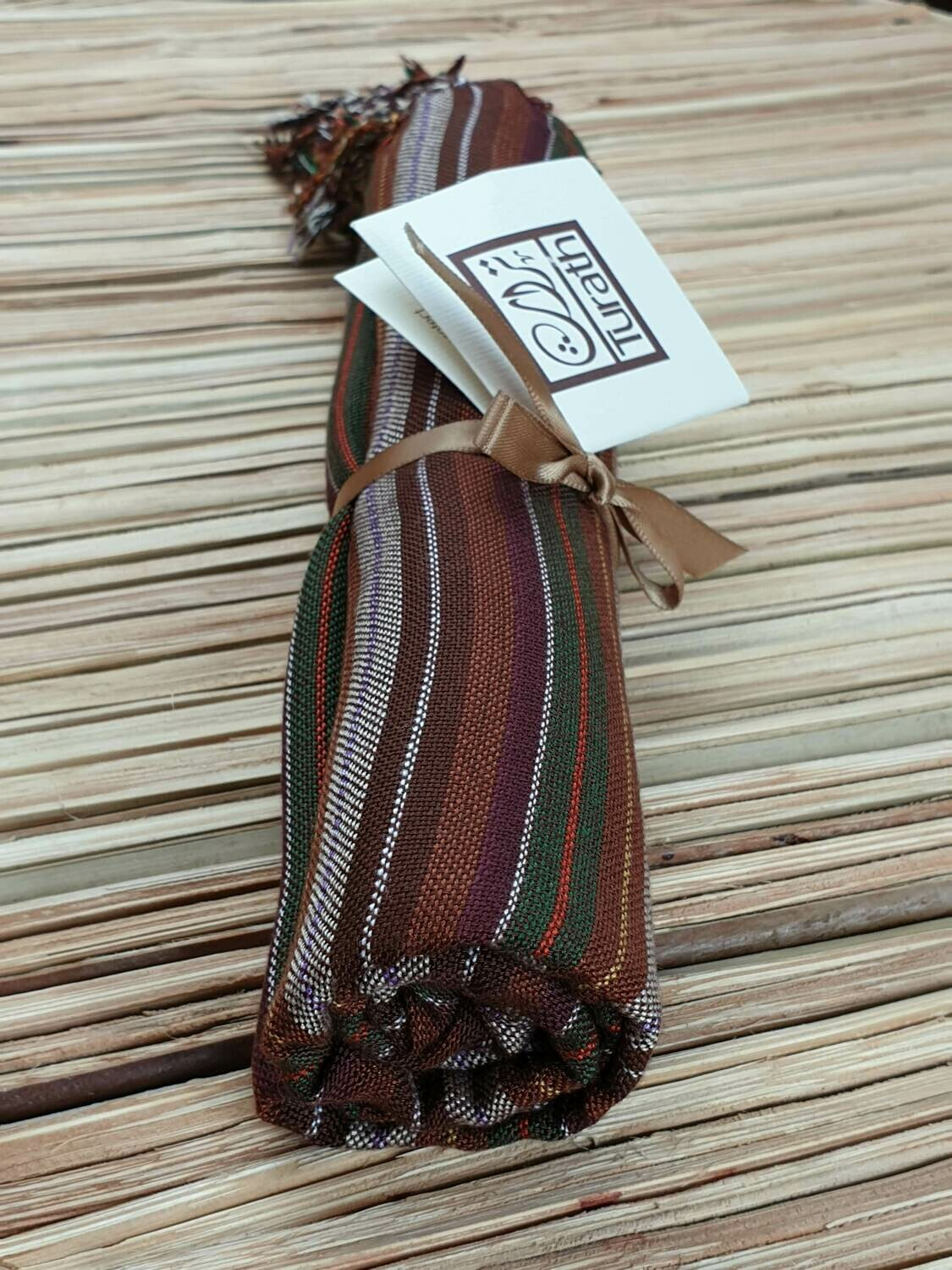 Brown, Olive & Burgundy Stripes Small Scarf